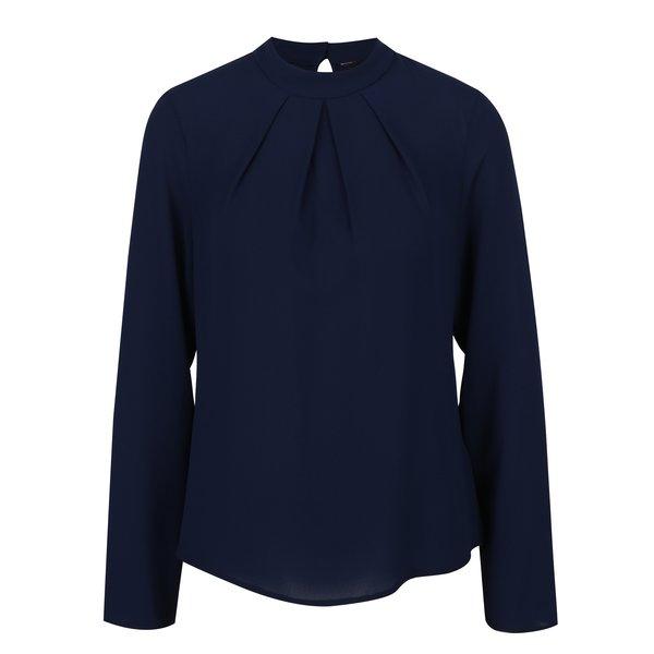 Bluză bleumarin cu mâneci lungi și pliuri Dorothy Perkins