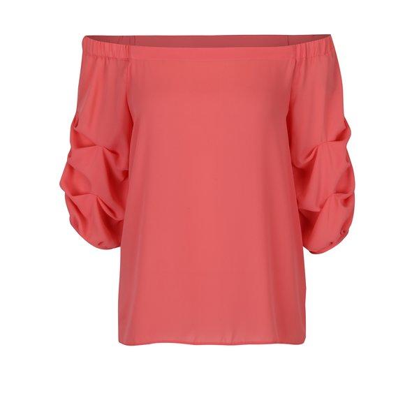Bluză corai cu mâneci drapate și decolteu pe umeri Dorothy Perkins