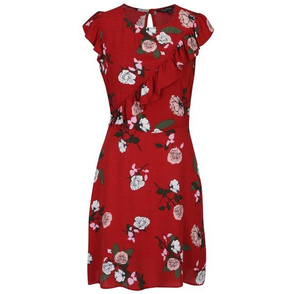 Rochie roșie cu volane și imprimeu floral - Miss Selfridge