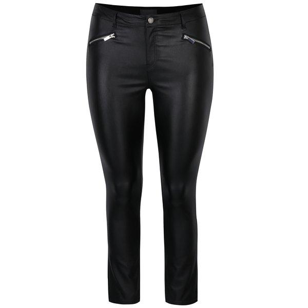 Pantaloni negri skinny cu fermoare și aspect de piele Dorothy Perkins