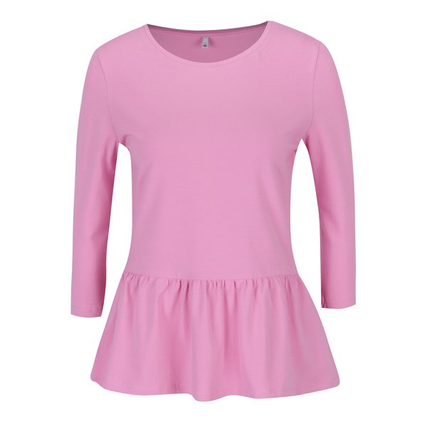 Bluză peplum roz cu mâneci 3/4 ONLY Live