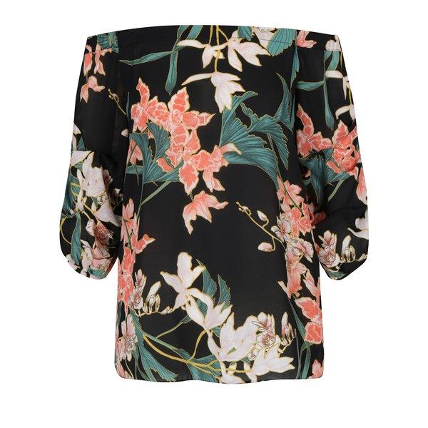 bluza neagra cu flori si decolteu pe umeri Dorothy Perkins
