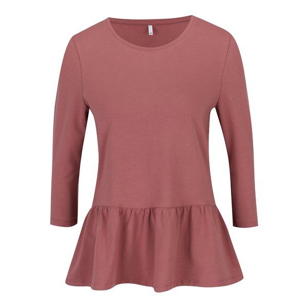 Bluză peplum roz prăfuit cu mâneci 3/4 ONLY Live