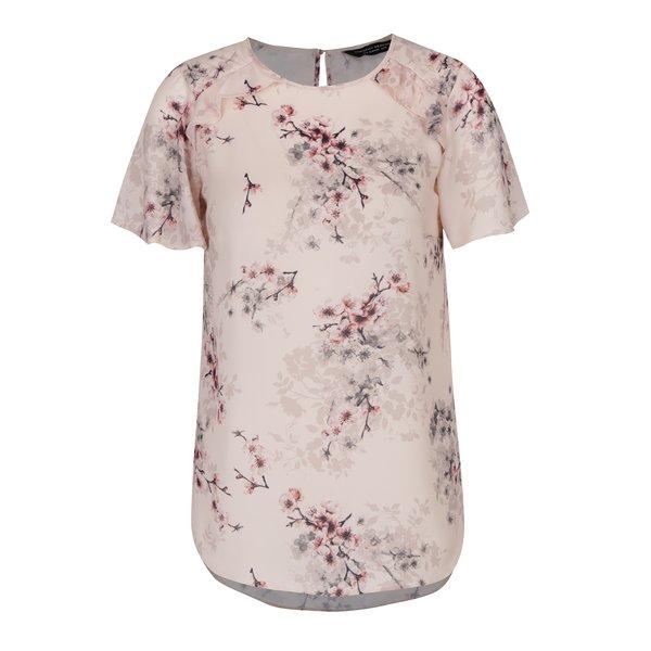 Bluză roz cu print floral și volane Dorothy Perkins