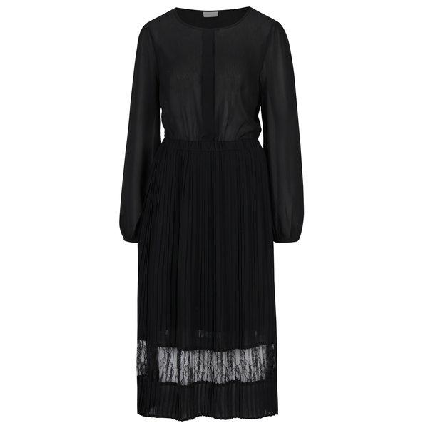 Rochie midi neagra plisata si cu top transparent – VILA Stella
