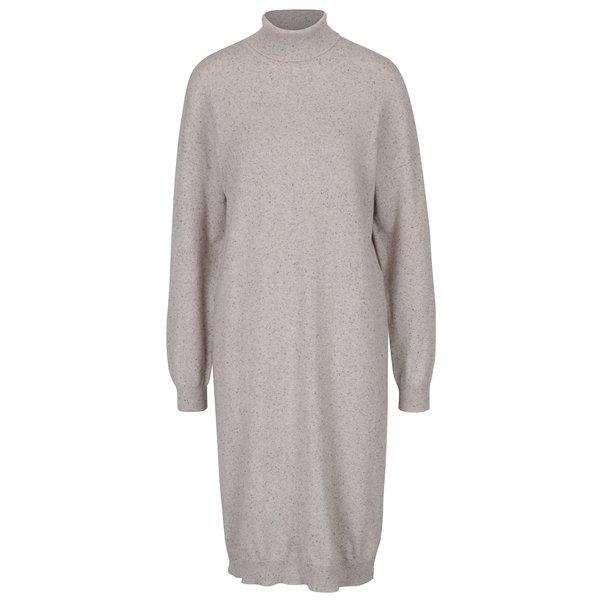 Rochie bej tricotată cu mâneci lungi și guler înalt Noisy May Momo
