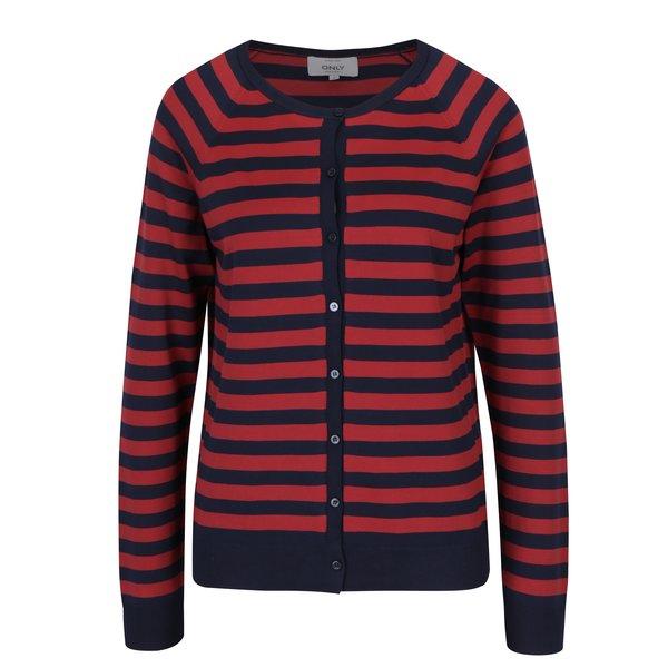 Cardigan roșu&bleumarin cu nasturi și dungi ONLY Bell Lisa