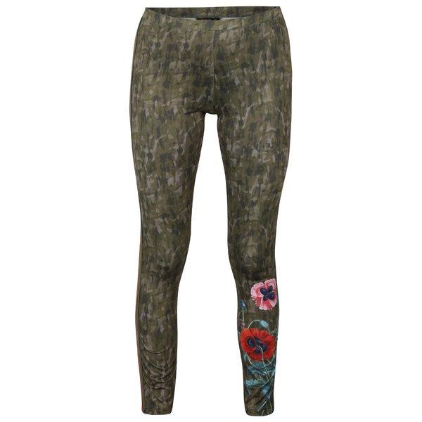 Colanți kaki cu print camuflaj și floral - Desigual Ayrton