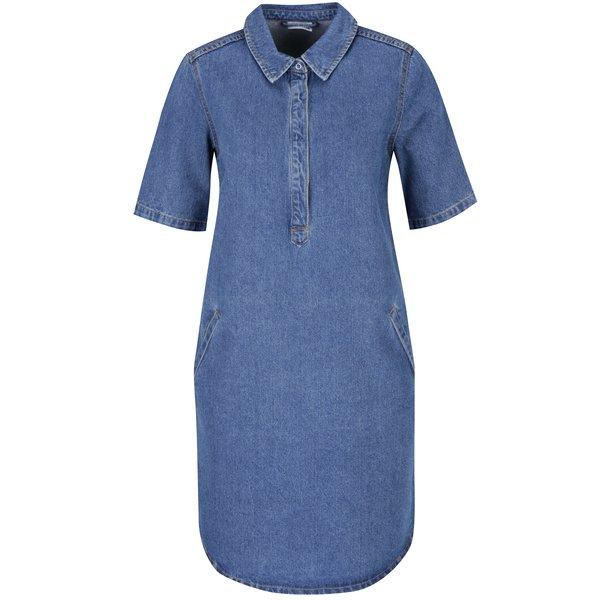 Rochie cămașă albastră din denim cu mâneci medii Noisy May Bell