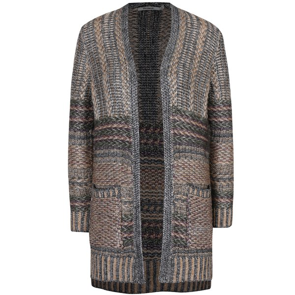 Cardigan tricotat bej & gri cu buzunare – Desigual Mach
