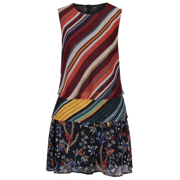 Rochie multicoloră cu imprimeu floral și cu dungi - Desigual Naticos