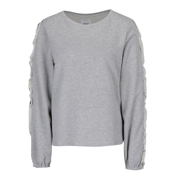 Bluză gri cu mâneci lungi decorate cu volănașe ONLY Misty