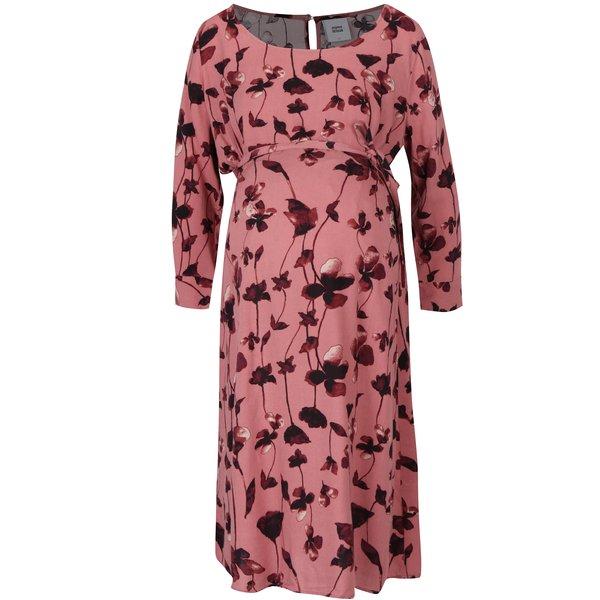 Rochie roz cu mâneci 3/4 pentru gravide Mama.licious Leaf