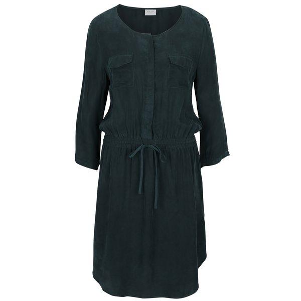Rochie verde inchis cu maneci lungi VILA Cubra