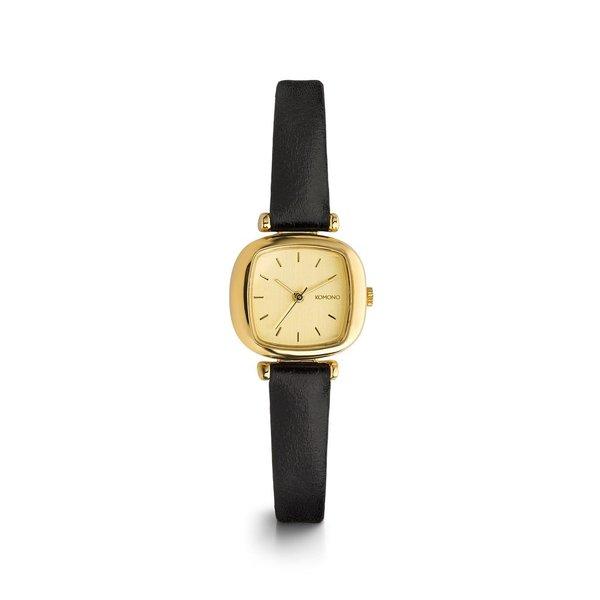 Ceas auriu cu curea neagra din piele - Komono Moneypenny