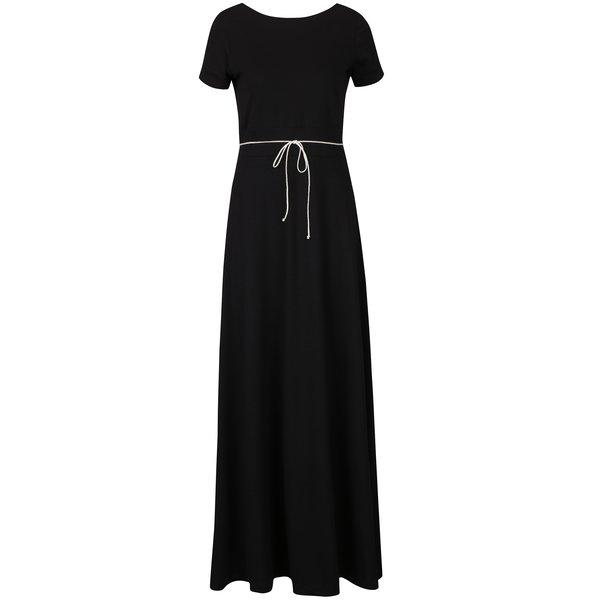 Rochie maxi neagră cu buzunare miestni