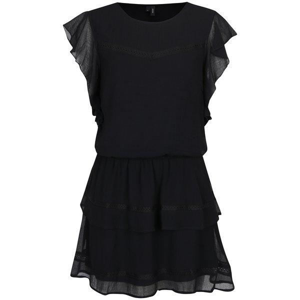 Rochie neagră cu volane - VERO MODA Aruba