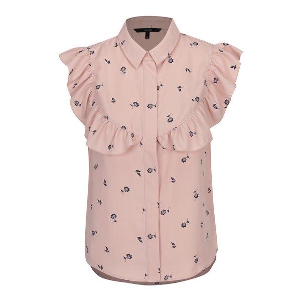 Bluză roz prăfuit cu imprimeu floral și volane discrete - VERO MODA Adriana