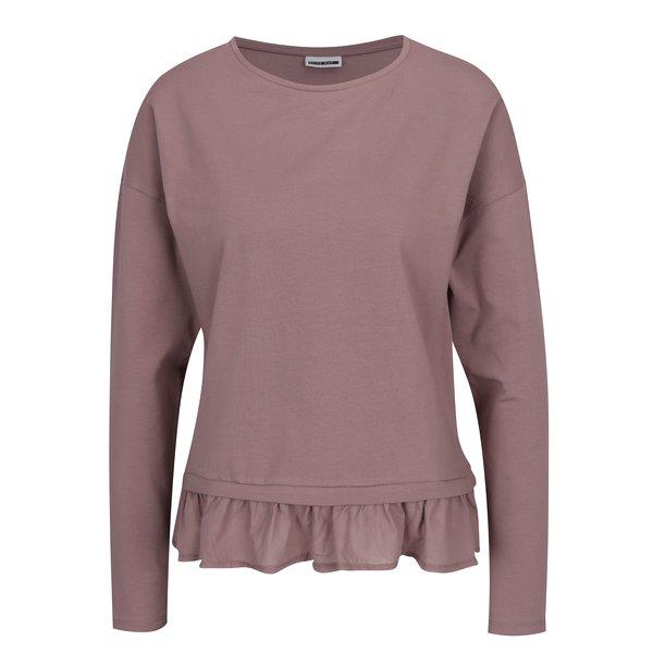 Bluză roz prăfuit cu volan la terminatie - Noisy May Alexis