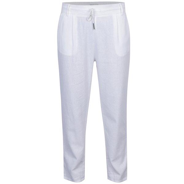 Pantaloni albi cu croi drept și talie elastică ONLY Summer