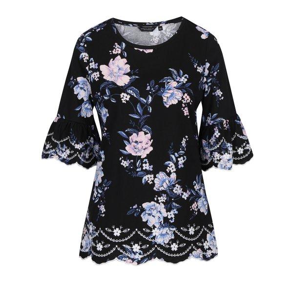 bluza neagra cu print floral si maneci clopot Dorothy Perkins