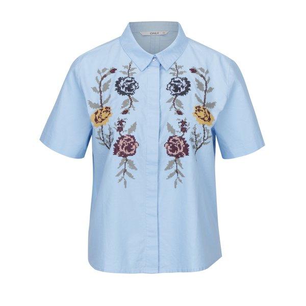 Cămașă albastră cu mâneci scurte și broderie florală ONLY Gala
