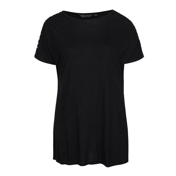 Tricou negru lejer cu margele aplicate pe umeri Dorothy Perkins Curve