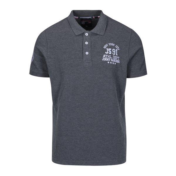 Tricou polo gri melanj cu logo brodat pentru bărbați - Jimmy Sanders