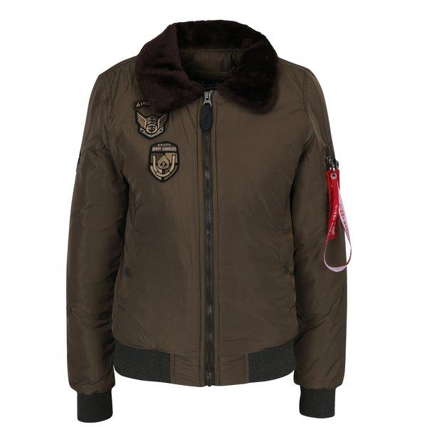 Jachetă bomber kaki cu guler de blană artificială pentru femei - Jimmy Sanders