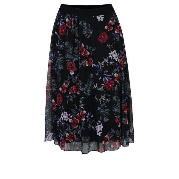 Fustă midi neagră cu print floral Haily´s Flower