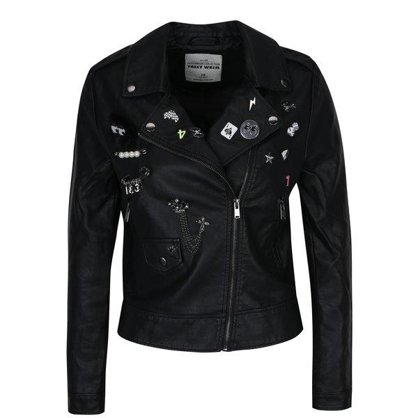Jachetă biker neagră cu insigne - TALLY WEiJL
