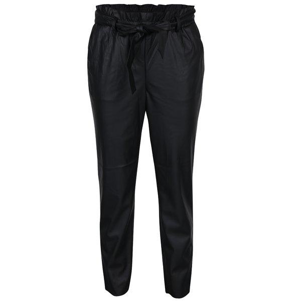 Pantaloni negri din imitație de piele VILA Anja