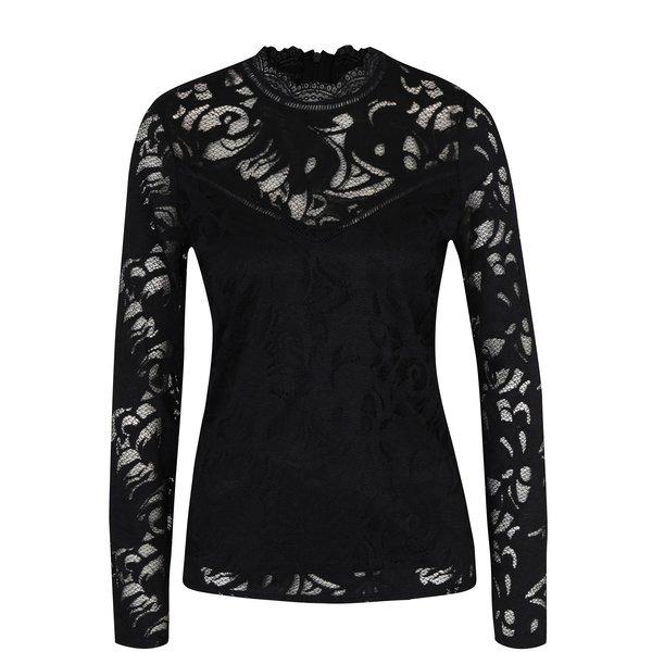 Bluză neagră cu dantelă VILA Stasia