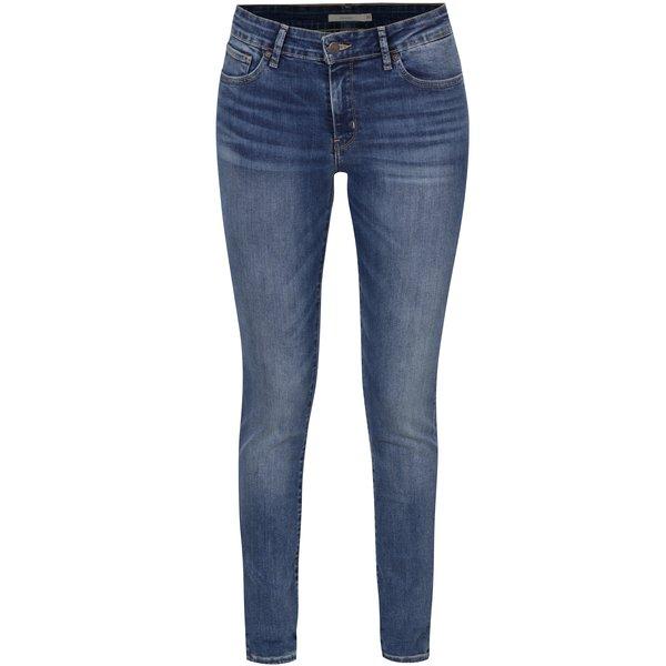 Blugi albastri skinny cu aspect prespălat pentru femei Levis® Antiqued