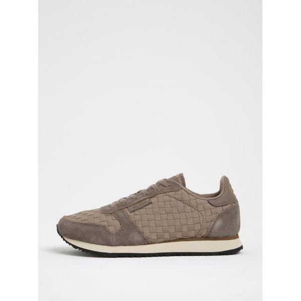 Pantofi sport bej cu detalii din piele întoarsă si model impletit pentru femei - Woden Ydun WS