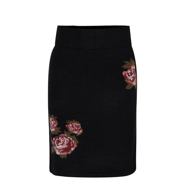 Fustă neagră tricotată cu model floral VERO MODA Belmont