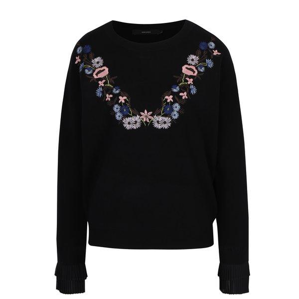 Pulover negru cu broderie florală multicoloră VERO MODA Costa