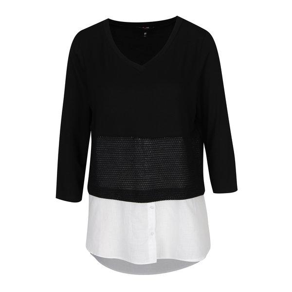 bluza alb & negru cu insertie de camasa Yest