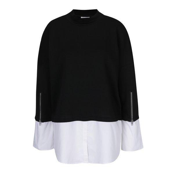 Bluză lungă negru cu alb cu aspect 2 în 1 Noisy May Saga