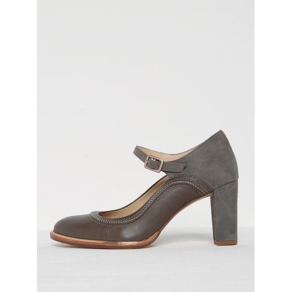 Pantofi gri din piele naturală cu baretă - Clarks Ellis Mae