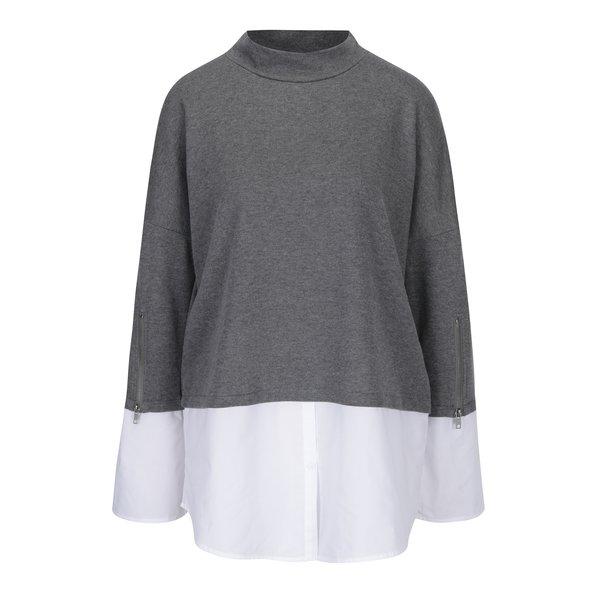 Bluză lungă gri cu alb cu aspect 2 în 1 Noisy May Saga