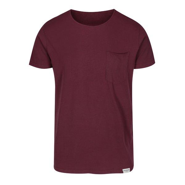 Tricou bărbătesc bordo cu buzunar - Shine Original Andy