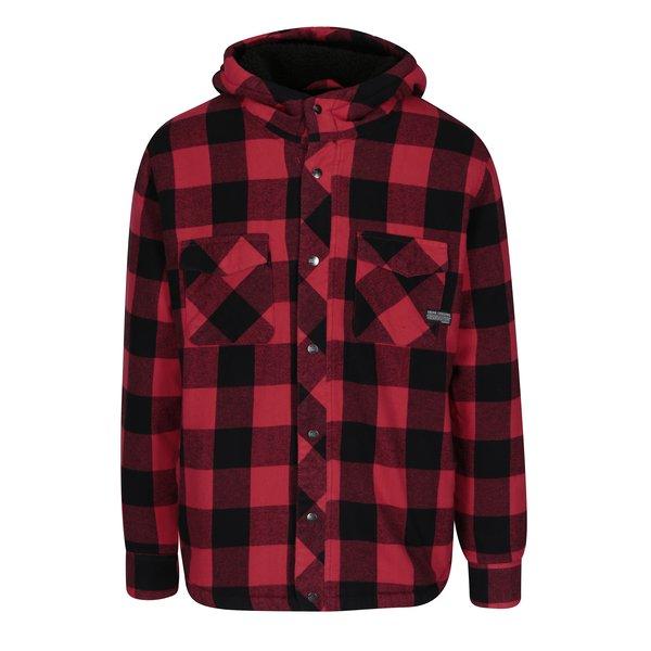 Jachetă în carouri roșu & negru cu glugă – Shine Original