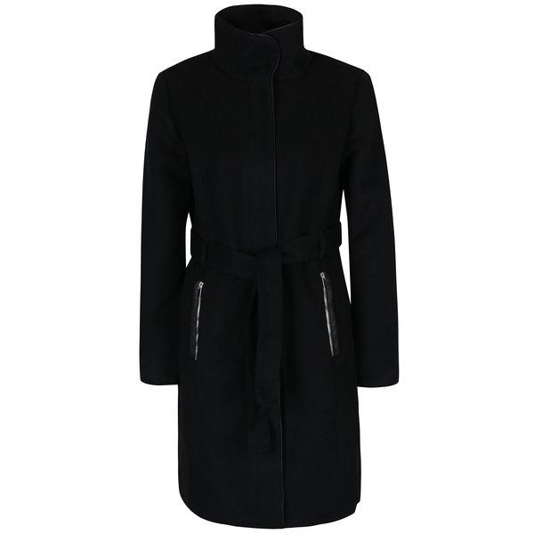 Palton negru cu guler inalt si cordon in talie - VERO MODA Prato
