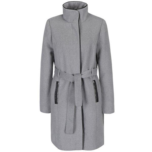 Palton gri pentru iarnă cu cordon în talie - VERO MODA Prato