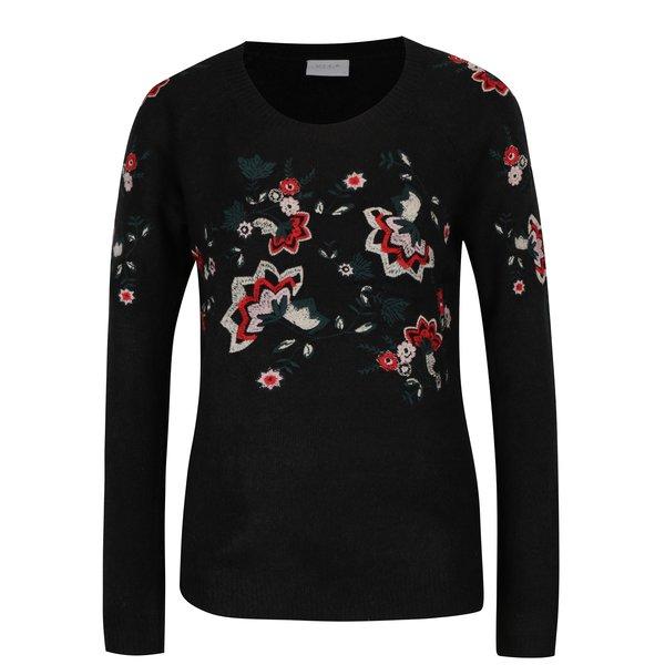 Pulover negru cu broderie florală VILA Estoni