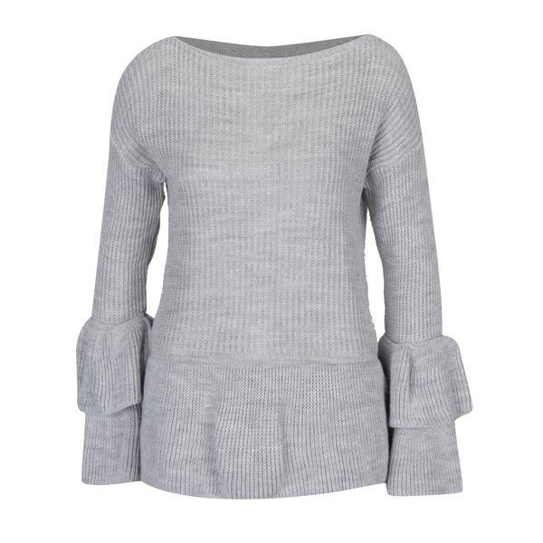 Pulover gri tricotat cu decolteu bărcuță - Hailys Nadine