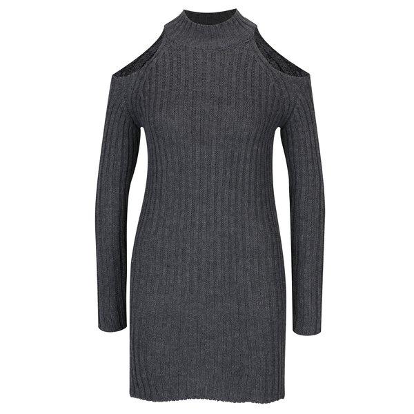 Rochie pulover gri cu decupaje pe umeri – Haily´s Larissa