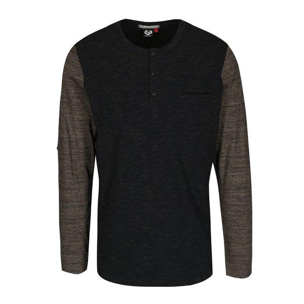 Tricou gri închis & maro melanj cu mânecă lungă pentru bărbați Ragwear Tibor