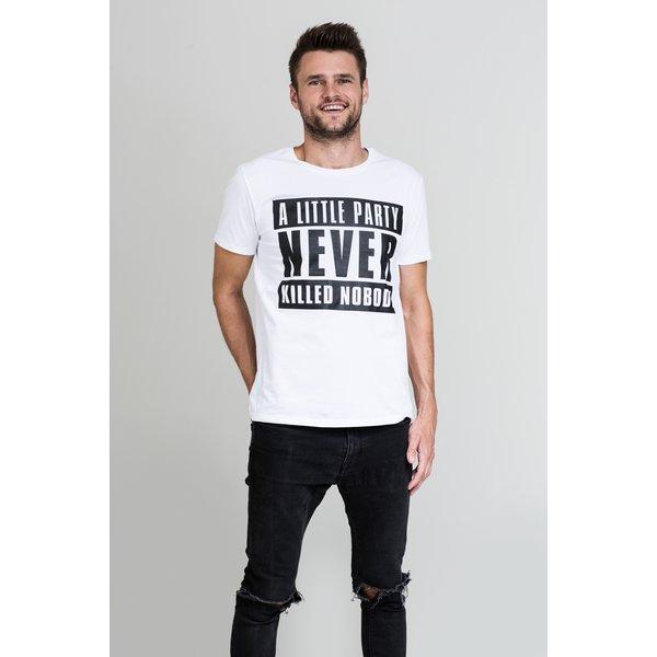 Tricou alb cu print negru E2 pentru bărbați